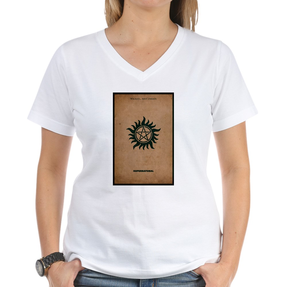 T shirt poster design - Supernatural Minimalist Poster Design Women S V Neck T Shirt
