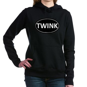 TWINK Black Euro Oval Woman's Hooded Sweatshirt