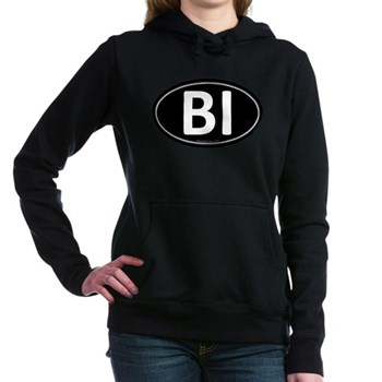 BI Black Euro Oval Woman's Hooded Sweatshirt