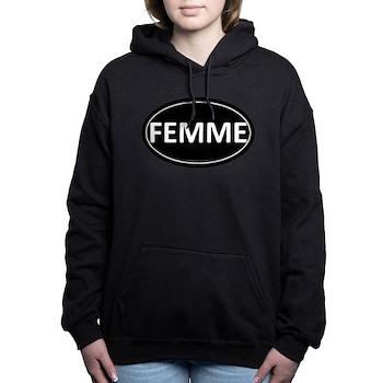FEMME Black Euro Oval Woman's Hooded Sweatshirt