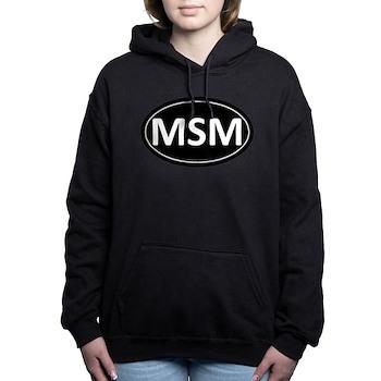 MSM Black Euro Oval Woman's Hooded Sweatshirt