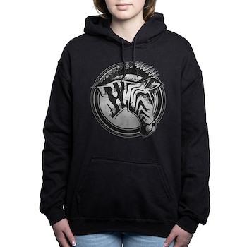 Distressed Wild Zebra Stamp Woman's Hooded Sweatshirt