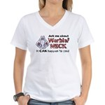 Ask Me About Warbler Neck Women's V-Neck T-Shirt