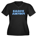 Carpe Annum Women's Plus Size V-Neck Dark T-Shirt