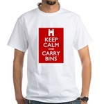 Keep Calm Carry Bins White T-Shirt