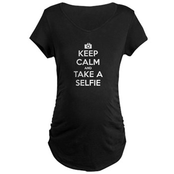 Keep Calm and Take a Selfie Dark Maternity T-Shirt