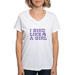 I Bird Like a Girl Women's V-Neck T-Shirt