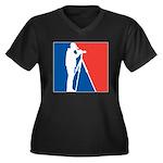 Major League Women's Plus Size V-Neck Dark T-Shirt