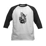 Long-eared Owl Sketch Kids Baseball Jersey