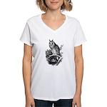 Long-eared Owl Sketch Women's V-Neck T-Shirt