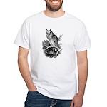 Long-eared Owl Sketch White T-Shirt