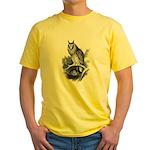 Long-eared Owl Sketch Yellow T-Shirt