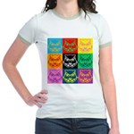 Pop Art Owl Face Jr. Ringer T-Shirt