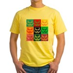 Pop Art Owl Face Yellow T-Shirt
