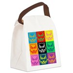 Pop Art Owl Face Canvas Lunch Bag
