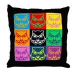 Pop Art Owl Face Throw Pillow