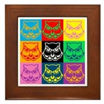 Pop Art Owl Face Framed Tile