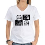 Barred Owl Pop Art Women's V-Neck T-Shirt