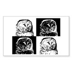Barred Owl Pop Art Sticker (Rectangle)
