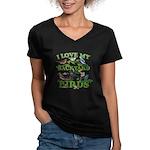 I Love My Backyard Bir Women's V-Neck Dark T-Shirt