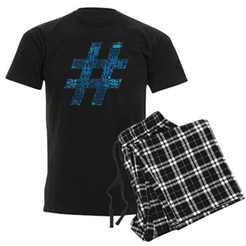 Blue Hashtag Cloud Men's Dark Pajamas