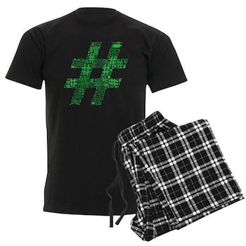 Green Hashtag Cloud Men's Dark Pajamas