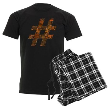 Orange Hashtag Cloud Men's Dark Pajamas