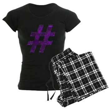 Purple Hashtag Cloud Women's Dark Pajamas