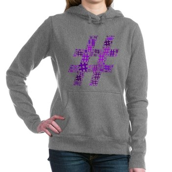 Purple Hashtag Cloud Woman's Hooded Sweatshirt