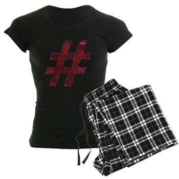 Red Hashtag Cloud Women's Dark Pajamas