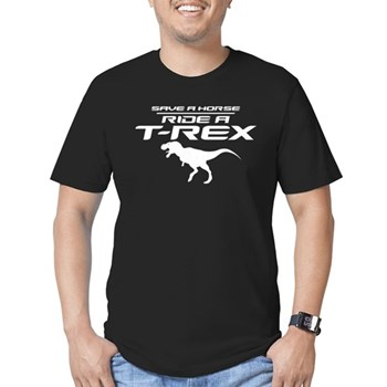 Save a Horse, Ride a T-Rex Men's Dark Fitted T-Shirt