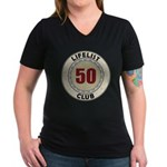 Lifelist Club - 50 Women's V-Neck Dark T-Shirt