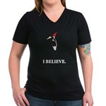 Simple IBWO: I Believe Women's V-Neck Dark T-Shirt