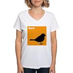 iBand (orange) Women's V-Neck T-Shirt