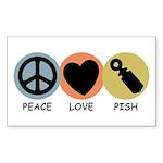 Peace Love Pish Rectangle Sticker