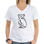 Stylized Owl Women's V-Neck T-Shirt
