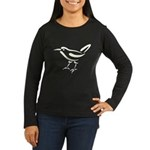 Stylized Wren Women's Long Sleeve Dark T-Shirt