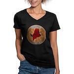 Maine Birder Women's V-Neck Dark T-Shirt