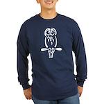 Stylized Barred Owl Long Sleeve Dark T-Shirt