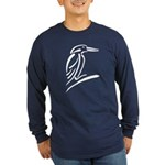 Stylized Kingfisher Long Sleeve Dark T-Shirt