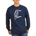 Stylized Kingfisher Long Sleeve Dark T-Shirt