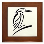 Stylized Kingfisher Framed Tile