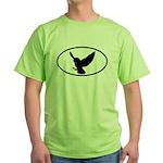 Snowy Owl Oval Green T-Shirt