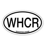 WHCR Whooping Crane Alpha Code Oval Sticker