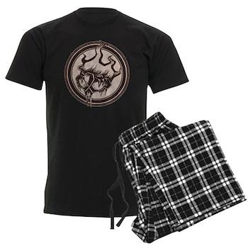 Distressed Wild Beaver Stamp Men's Dark Pajamas