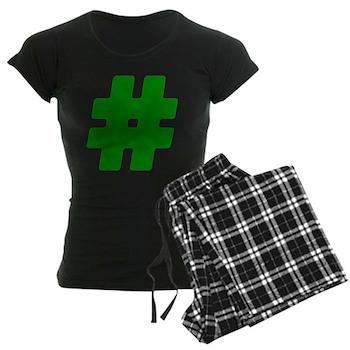 Green #Hashtag Women's Dark Pajamas