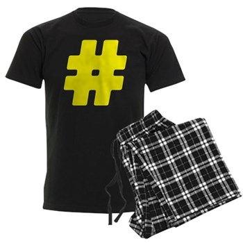 Yellow #Hashtag Men's Dark Pajamas